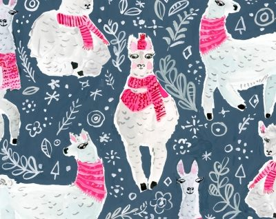 Winter Llamas  Moonlight