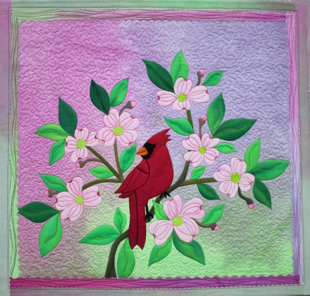 Applique Frieda Anderson S Flower Trees Bird Art Quilt