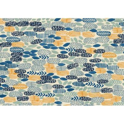 Pond  River Rocks Unbleached Fabric