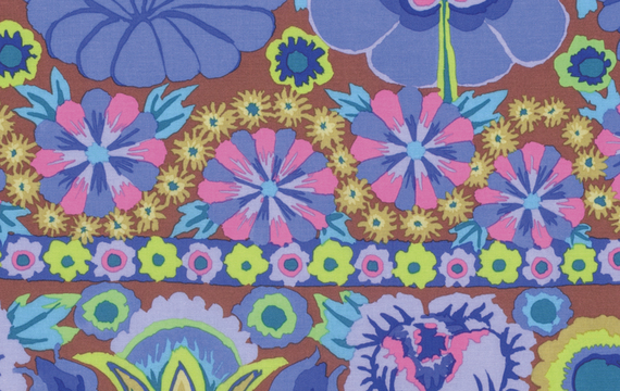 Embroidered Flower Border  Blue