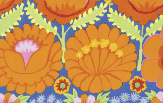 Embroidered Flower Border  Orange